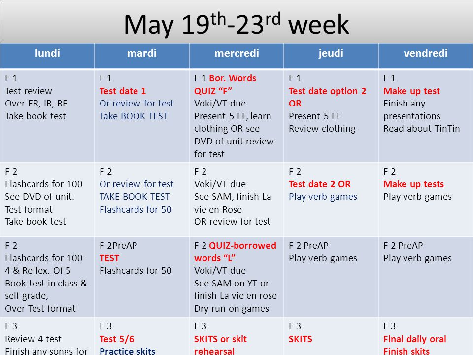 May 19 th -23 rd week lundimardimercredijeudivendredi F 1 Test review Over ER, IR, RE Take book test F 1 Test date 1 Or review for test Take BOOK TEST F 1 Bor.