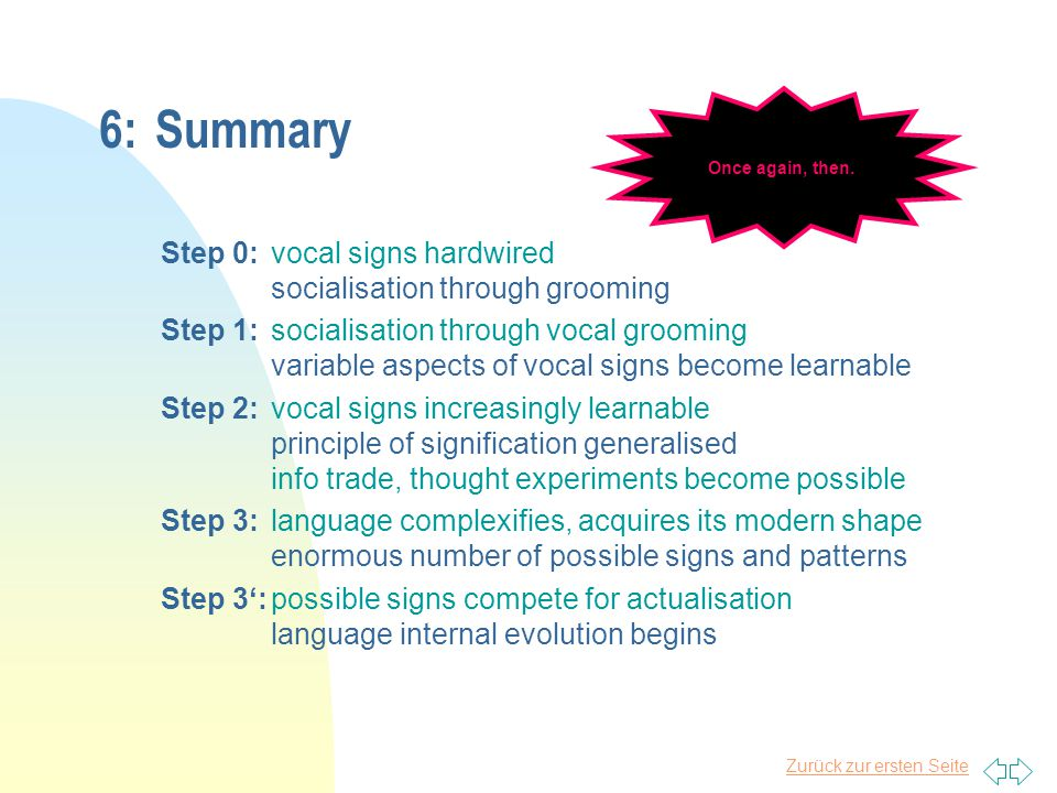 Zurück zur ersten Seite n While vocal signs might once have been genetically determined and neurally hardwired, they have now become partly liberated