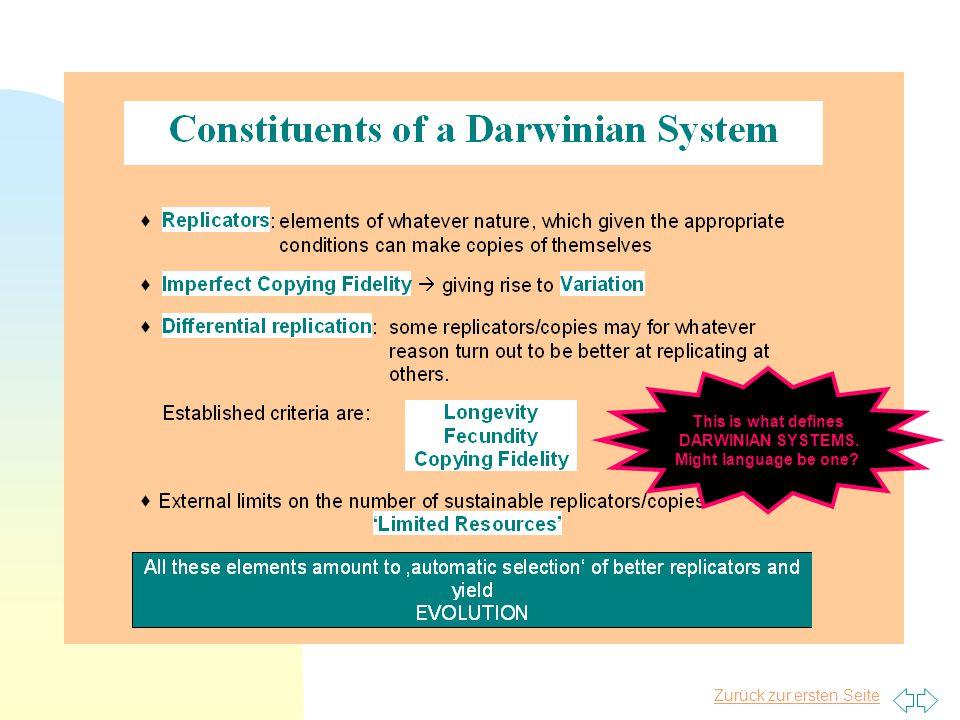 Zurück zur ersten Seite This is what defines DARWINIAN SYSTEMS. Might language be one?