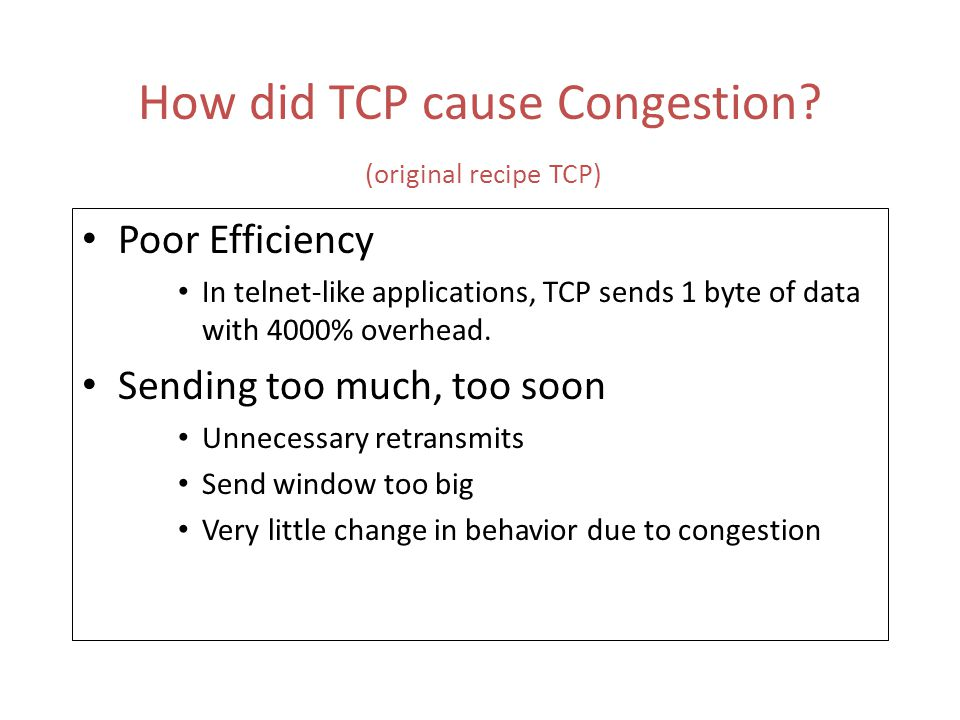 35 TCP with Selective Ack (SACK) SACK + Selective Repeat Retransmission Policy allows receiver informs sender about all segments that are successfully received.