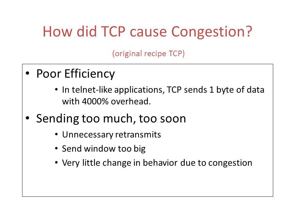 Evolution of TCP 1993 1994 1996 1994 ECN Explicit Congestion Notification (Floyd) 1993 TCP Vegas(not implemented) real congestion avoidance (Brakmo et