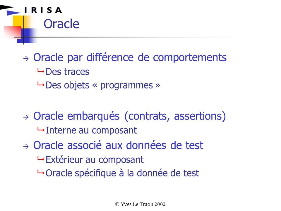  Yves Le Traon 2002 Oracle  Oracle par différence de comportements  Des traces  Des objets « programmes »  Oracle embarqués (contrats, assertions)  Interne au composant  Oracle associé aux données de test  Extérieur au composant  Oracle spécifique à la donnée de test