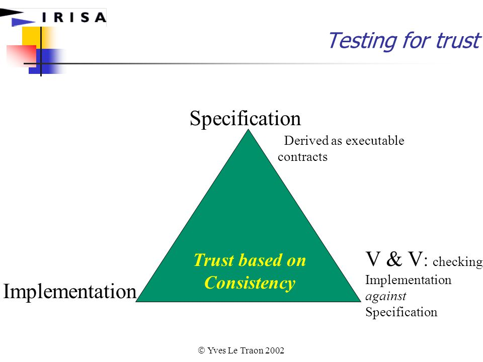  Yves Le Traon 2002 Specification Implementation V & V : checking Implementation against Specification Trust based on Consistency Derived as executable contracts Testing for trust