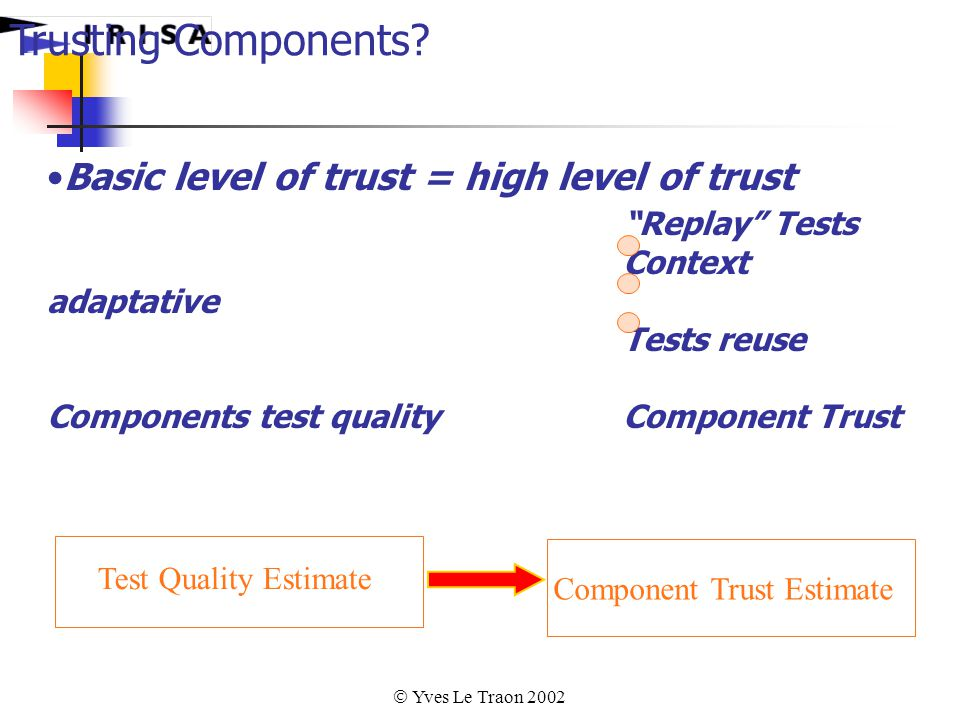  Yves Le Traon 2002 Basic level of trust = high level of trust Replay Tests Context adaptative Tests reuse Components test quality Component Trust Trusting Components.