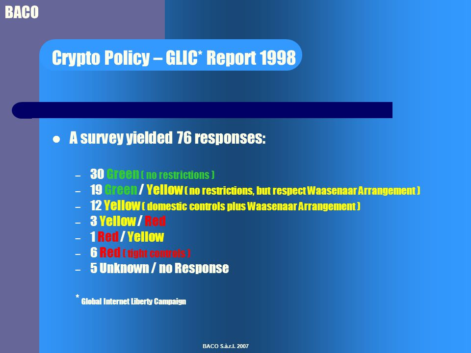 BACO BACO S.à.r.l. 2007 Crypto Policy – GLIC* Report 1998 A survey yielded 76 responses: – 30 Green ( no restrictions ) – 19 Green / Yellow ( no restr
