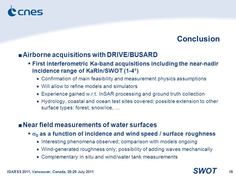 SWOT IGARSS 2011, Vancouver, Canada, 25-29 July 201118 Conclusion ■Airborne acquisitions with DRIVE/BUSARD  First interferometric Ka-band acquisition