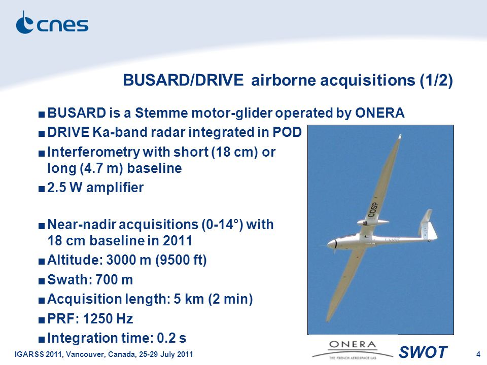 SWOT IGARSS 2011, Vancouver, Canada, 25-29 July 20114 BUSARD/DRIVE airborne acquisitions (1/2) ■BUSARD is a Stemme motor-glider operated by ONERA ■DRI