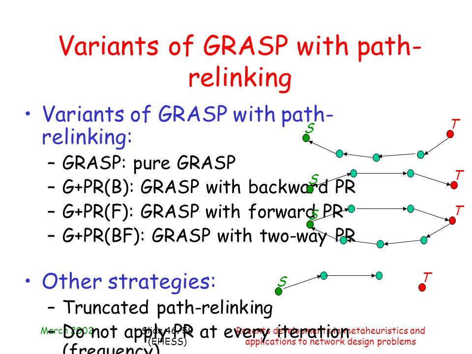 March 2002Recents developments in metaheuristics and applications to network design problems Slide 46/59 (EHESS) Variants of GRASP with path- relinkin