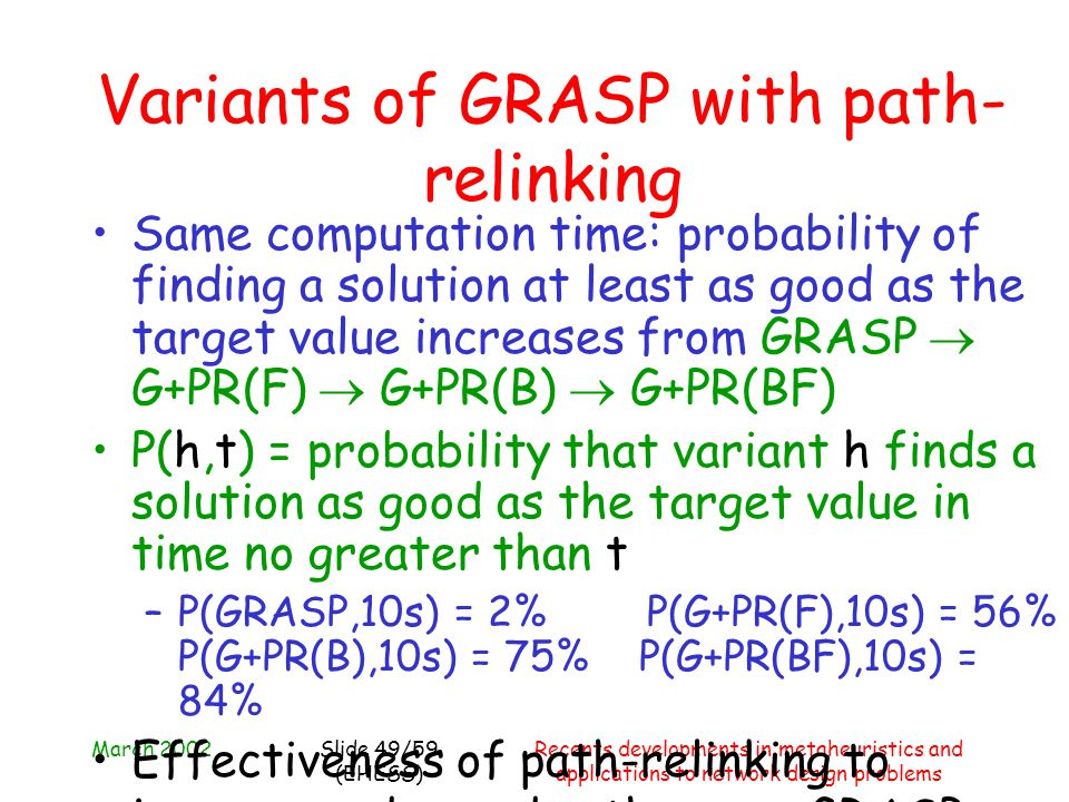 March 2002Recents developments in metaheuristics and applications to network design problems Slide 49/59 (EHESS) Variants of GRASP with path- relinkin