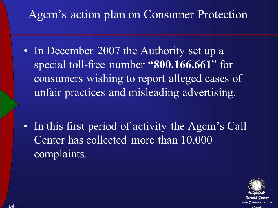 Autorità Garante della Concorrenza e del Mercato - 14 - Agcm's action plan on Consumer Protection In December 2007 the Authority set up a special toll-free number 800.166.661 for consumers wishing to report alleged cases of unfair practices and misleading advertising.