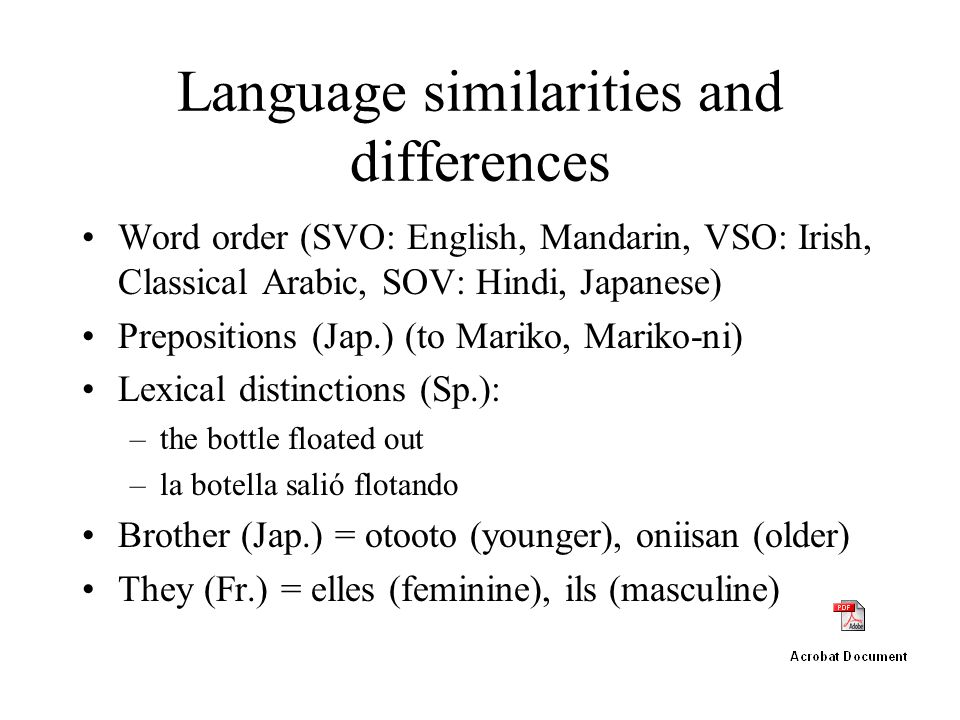 Language similarities and differences Word order (SVO: English, Mandarin, VSO: Irish, Classical Arabic, SOV: Hindi, Japanese) Prepositions (Jap.) (to Mariko, Mariko-ni) Lexical distinctions (Sp.): –the bottle floated out –la botella salió flotando Brother (Jap.) = otooto (younger), oniisan (older) They (Fr.) = elles (feminine), ils (masculine)