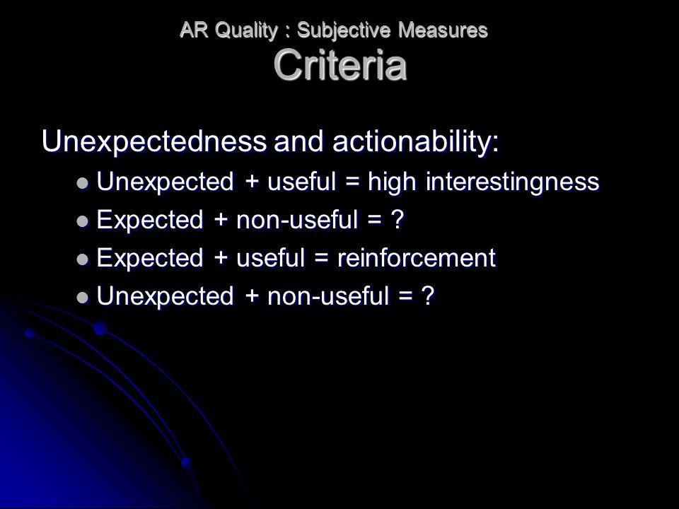 Criteria Unexpectedness and actionability: Unexpected + useful = high interestingness Unexpected + useful = high interestingness Expected + non-useful = .