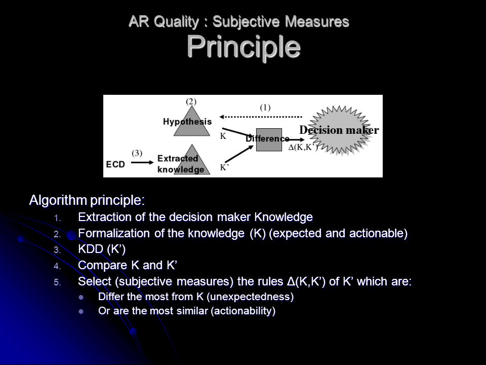 Principle Algorithm principle: 1. Extraction of the decision maker Knowledge 2. Formalization of the knowledge (K) (expected and actionable) 3. KDD (K