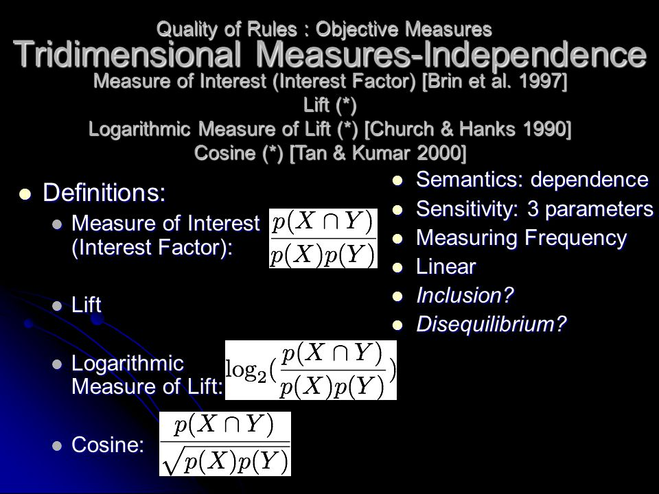Tridimensional Measures-Independence Definitions: Definitions: Measure of Interest (Interest Factor): Measure of Interest (Interest Factor): Lift Lift