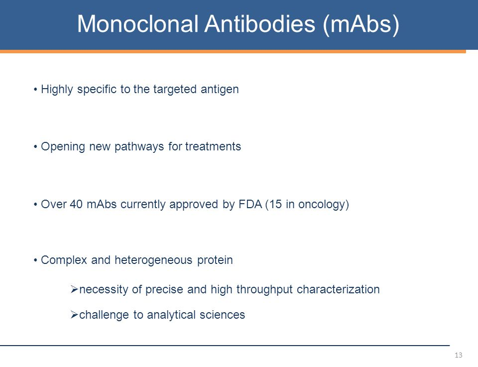 13 Monoclonal Antibodies (mAbs) Highly specific to the targeted antigen Opening new pathways for treatments Over 40 mAbs currently approved by FDA (15 in oncology) Complex and heterogeneous protein  necessity of precise and high throughput characterization  challenge to analytical sciences
