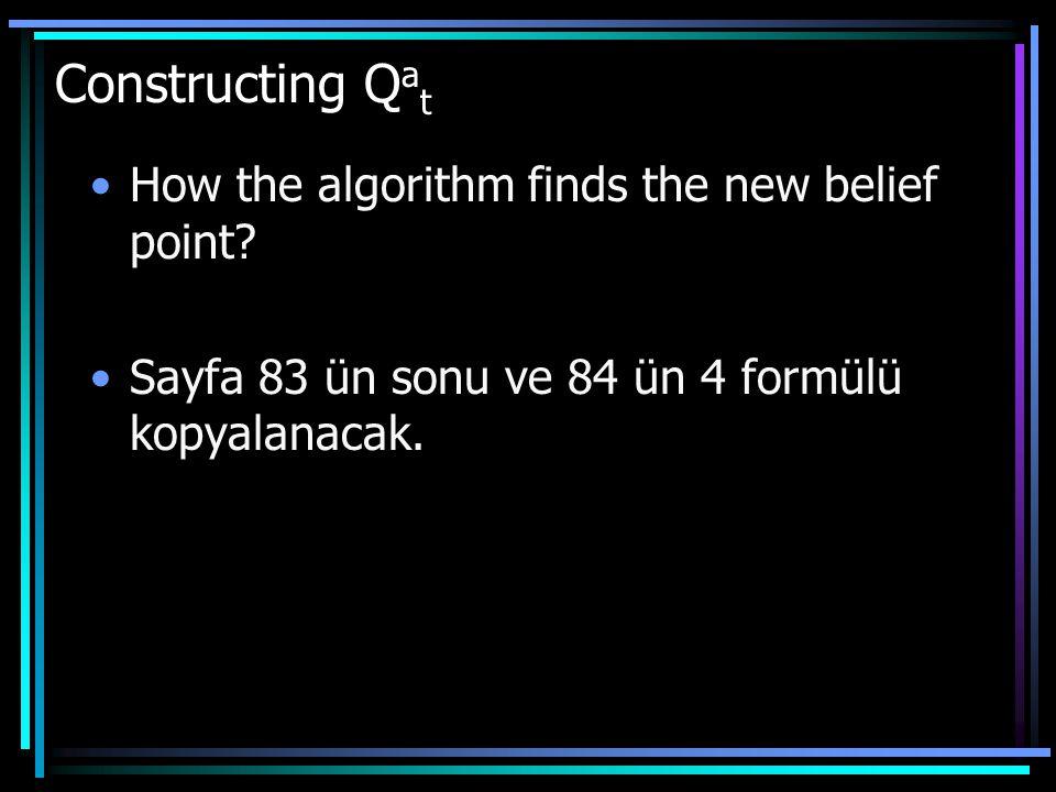 How the algorithm finds the new belief point. Sayfa 83 ün sonu ve 84 ün 4 formülü kopyalanacak.