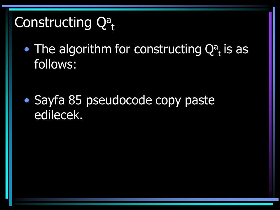 The algorithm for constructing Q a t is as follows: Sayfa 85 pseudocode copy paste edilecek.