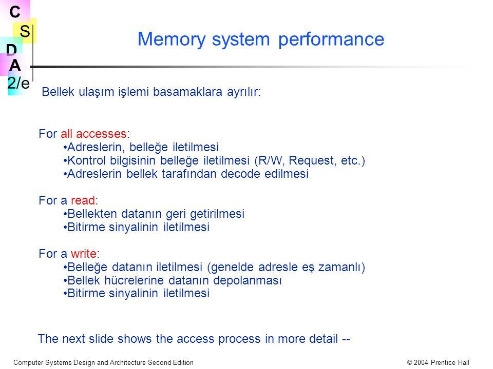 S 2/e C D A Computer Systems Design and Architecture Second Edition© 2004 Prentice Hall Memory system performance For all accesses: Adreslerin, belleğe iletilmesi Kontrol bilgisinin belleğe iletilmesi (R/W, Request, etc.) Adreslerin bellek tarafından decode edilmesi For a read: Bellekten datanın geri getirilmesi Bitirme sinyalinin iletilmesi For a write: Belleğe datanın iletilmesi (genelde adresle eş zamanlı) Bellek hücrelerine datanın depolanması Bitirme sinyalinin iletilmesi Bellek ulaşım işlemi basamaklara ayrılır: The next slide shows the access process in more detail --