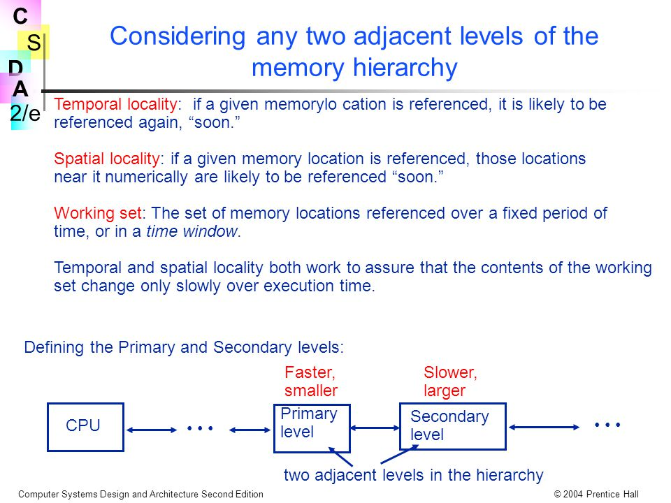 S 2/e C D A Computer Systems Design and Architecture Second Edition© 2004 Prentice Hall Considering any two adjacent levels of the memory hierarchy Temporal locality: if a given memorylo cation is referenced, it is likely to be referenced again, soon. Spatial locality: if a given memory location is referenced, those locations near it numerically are likely to be referenced soon. Working set: The set of memory locations referenced over a fixed period of time, or in a time window.