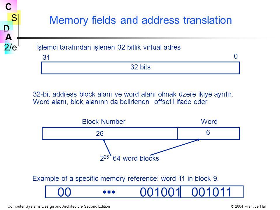 S 2/e C D A Computer Systems Design and Architecture Second Edition© 2004 Prentice Hall Memory fields and address translation İşlemci tarafından işlenen 32 bitlik virtual adres 0 31 32 bits 32-bit address block alanı ve word alanı olmak üzere ikiye ayrılır.