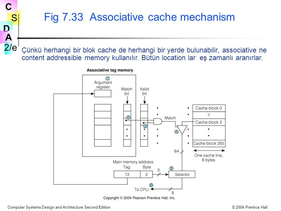 S 2/e C D A Computer Systems Design and Architecture Second Edition© 2004 Prentice Hall Fig 7.33 Associative cache mechanism Çünkü herhangi bir blok cache de herhangi bir yerde bulunabilir, associative ne content addressible memory kullanılır.