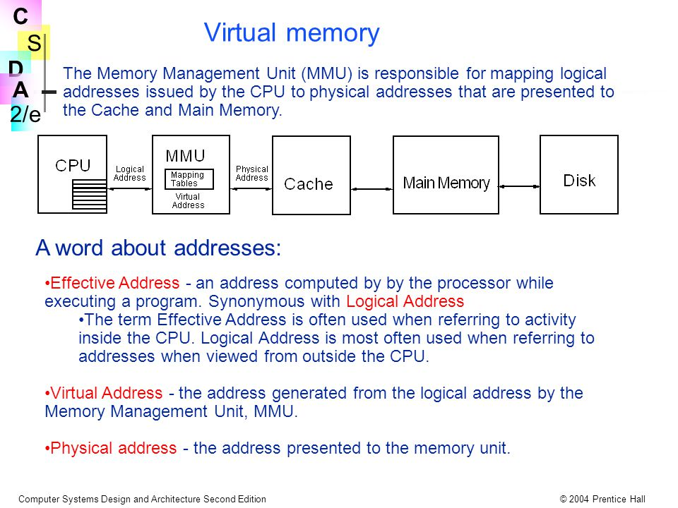 S 2/e C D A Computer Systems Design and Architecture Second Edition© 2004 Prentice Hall Virtual memory The Memory Management Unit (MMU) is responsible