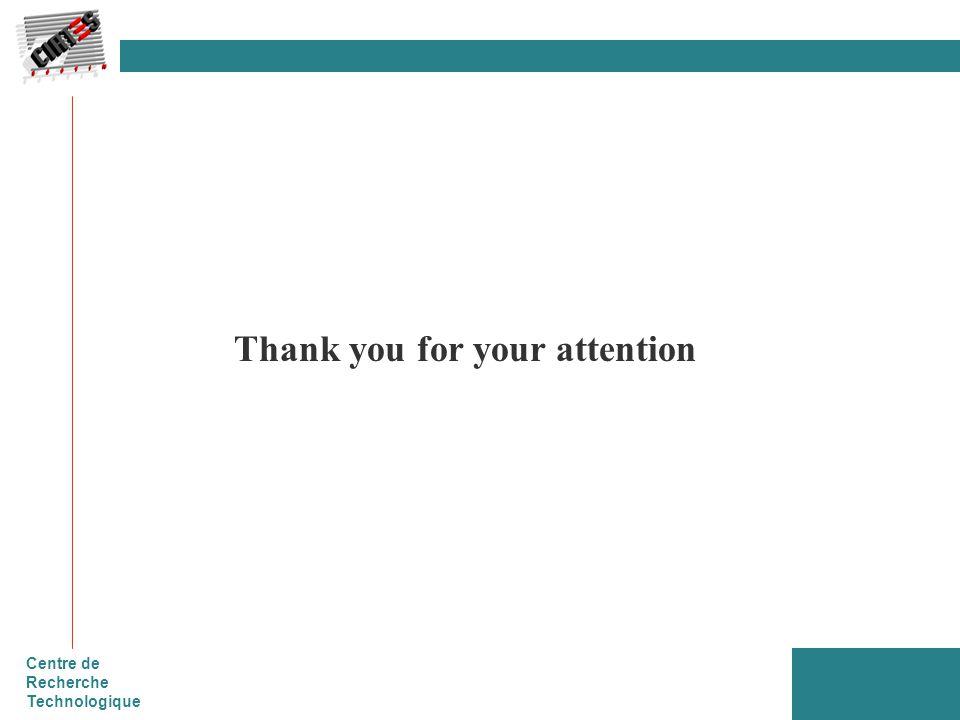 Centre de Recherche Technologique Thank you for your attention