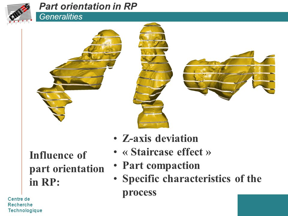 Centre de Recherche Technologique Part orientation in RP Generalities Z-axis deviation « Staircase effect » Part compaction Specific characteristics of the process Influence of part orientation in RP: