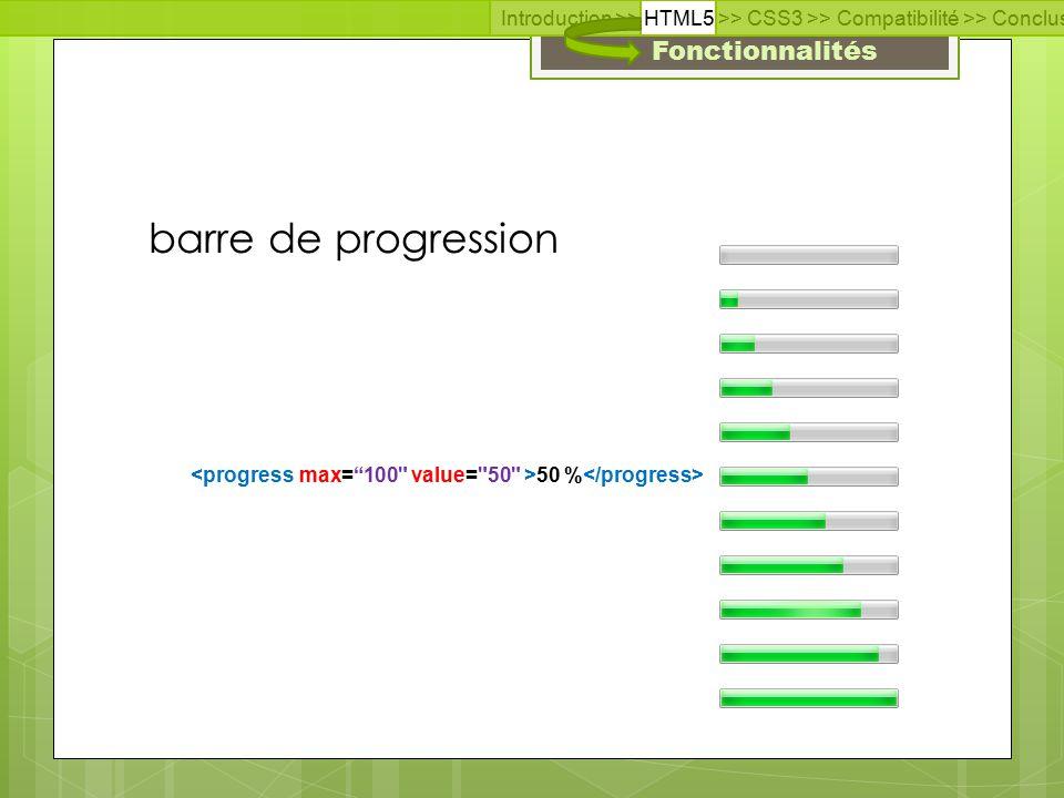 Fonctionnalités Introduction >> HTML5 >> CSS3 >> Compatibilité >> Conclusion >> Questions >> Documentation barre de progression 50 %