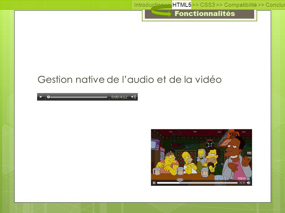 Fonctionnalités Gestion native de l'audio et de la vidéo Introduction >> HTML5 >> CSS3 >> Compatibilité >> Conclusion >> Questions >> Documentation