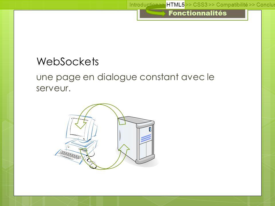 Fonctionnalités une page en dialogue constant avec le serveur.