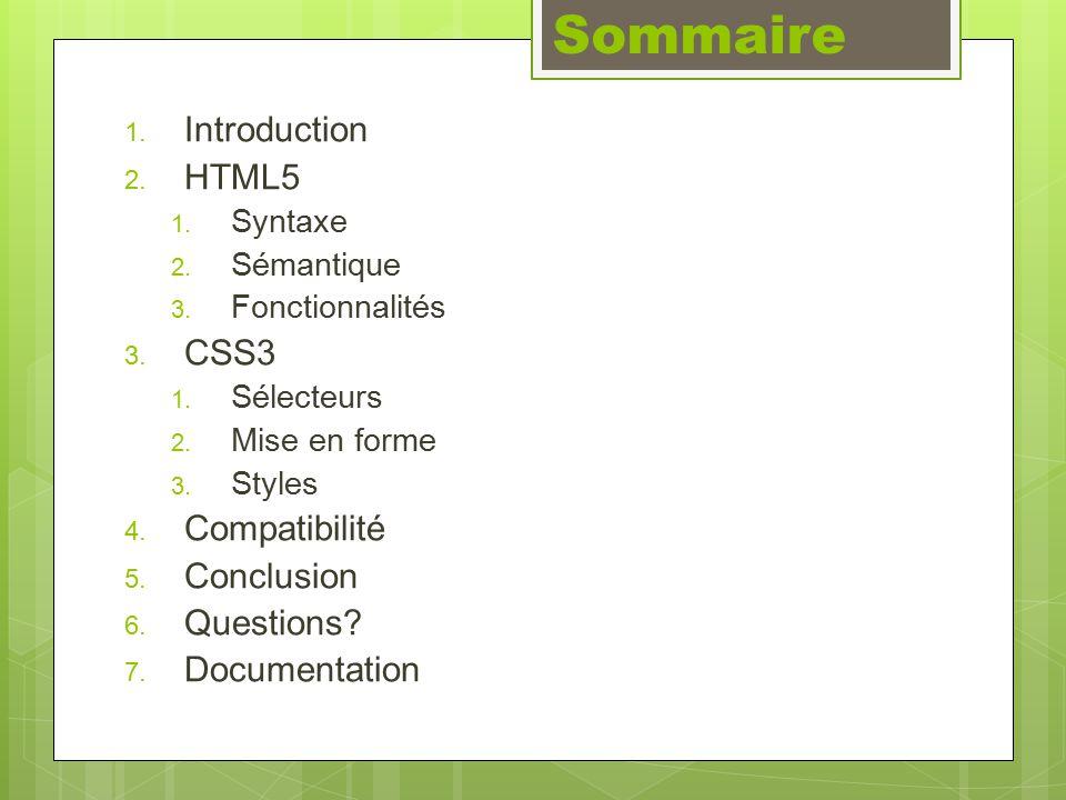 Fonctionnalités Contenu éditable Introduction >> HTML5 >> CSS3 >> Compatibilité >> Conclusion >> Questions >> Documentation
