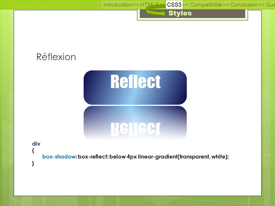 Introduction >> HTML5 >> CSS3 >> Compatibilité >> Conclusion >> Questions >> Documentation Styles div { box-shadow: box-reflect: below 4px linear-gradient(transparent, white); } Réflexion