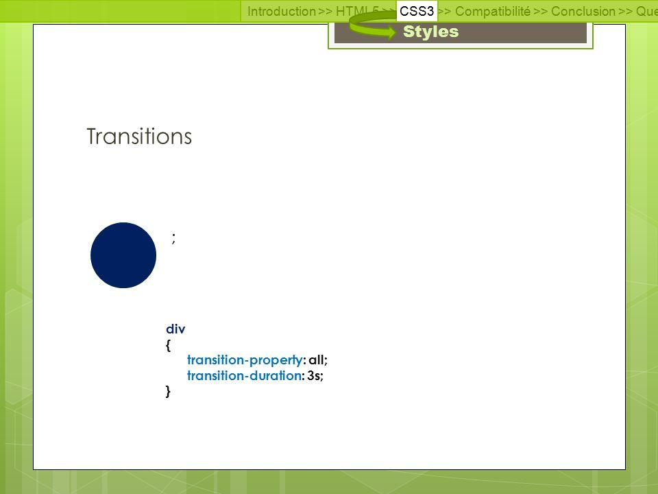Introduction >> HTML5 >> CSS3 >> Compatibilité >> Conclusion >> Questions >> Documentation Styles Transitions ; div { transition-property: all; transition-duration: 3s; }