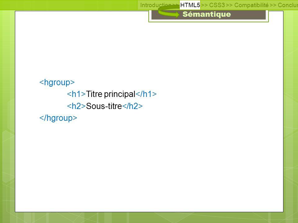 Introduction >> HTML5 >> CSS3 >> Compatibilité >> Conclusion >> Questions >> Documentation  Sites en français  www.html5-css3.fr www.html5-css3.fr  www.alsacreation.com www.alsacreation.com  Sites en anglais  www.w3.org/CSS www.w3.org/CSS  html5demos.com html5demos.com