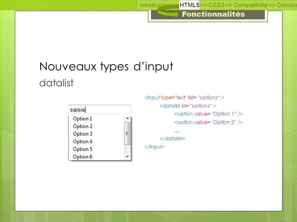 Fonctionnalités range Nouveaux types d'input Introduction >> HTML5 >> CSS3 >> Compatibilité >> Conclusion >> Questions >> Documentation