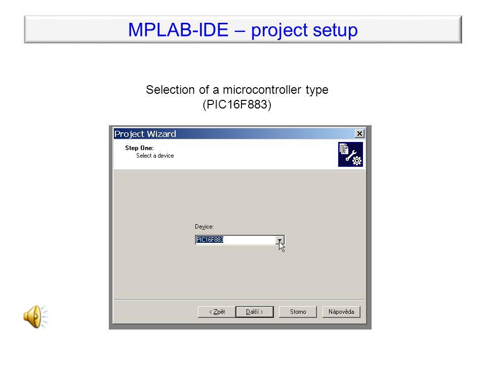 MPLAB-IDE – project setup