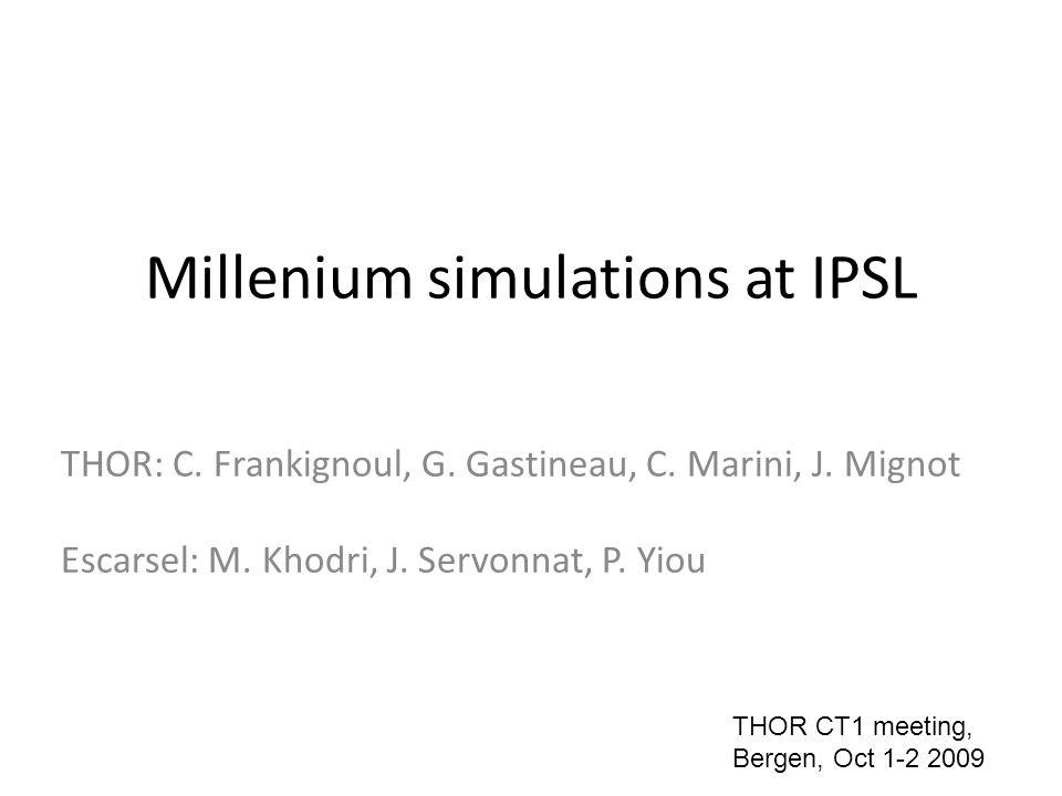 The IPSL-CM4 coupled model LMDZ: atmospheric physics and dynamics horizontal resolution 96x72, 19 vertical layers OPA: ocean dynamics based on a 2 degrees Mercator mesh (orca), 31 vertical levels LIM: sea-ice dynamics and thermodynamics ORCHIDEE: land surface OASIS Marti et al 2008 http://mc2.ipsl.jussieu.fr/simules.html, http://igcmg.ipsl.jussieu.fr/Doc/IPSLCM4/