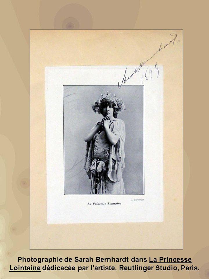 Photographie de Sarah Bernhardt dans La Princesse Lointaine dédicacée par l artiste.
