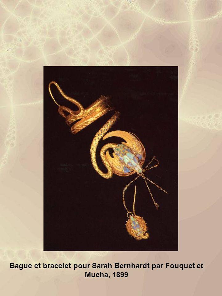 Bague et bracelet pour Sarah Bernhardt par Fouquet et Mucha, 1899