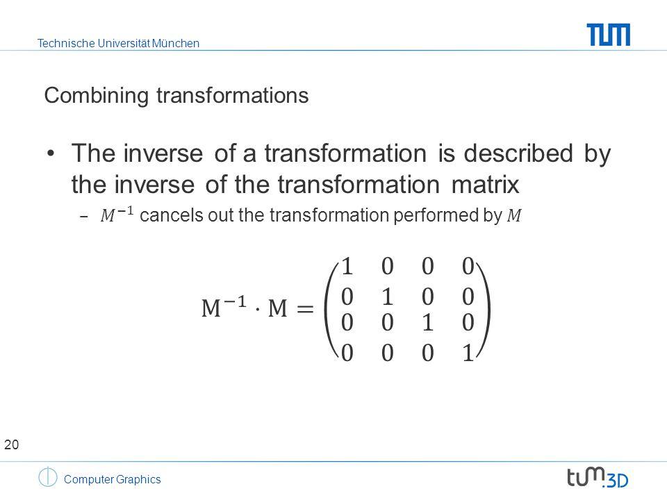 Technische Universität München Computer Graphics Combining transformations 20