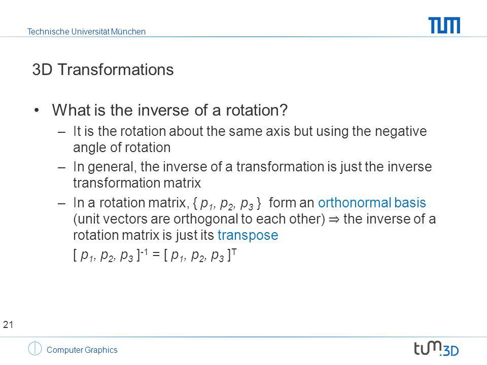 Technische Universität München Computer Graphics 3D Transformations What is the inverse of a rotation.