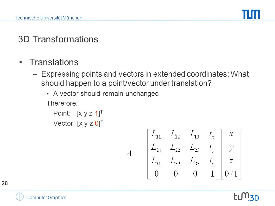 Technische Universität München Computer Graphics 3D Transformations Translations –Expressing points and vectors in extended coordinates; What should happen to a point/vector under translation.
