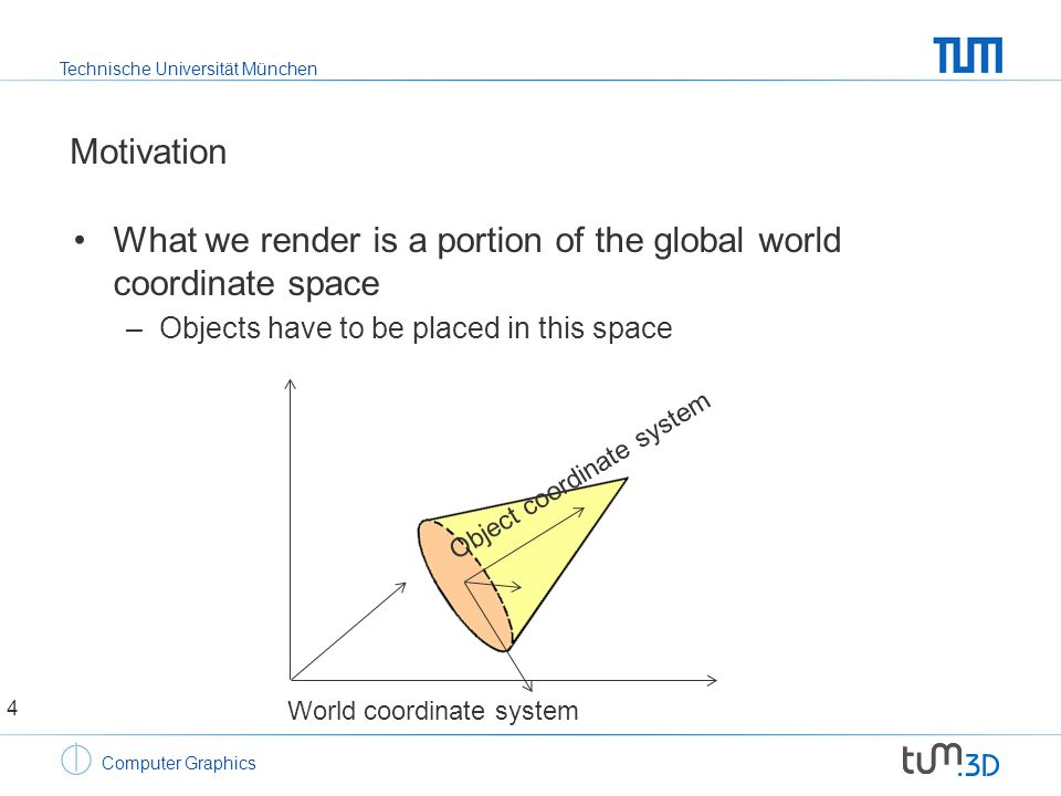 Technische Universität München Computer Graphics Motivation What we render is a portion of the global world coordinate space –Objects have to be placed in this space World coordinate system Object coordinate system 4