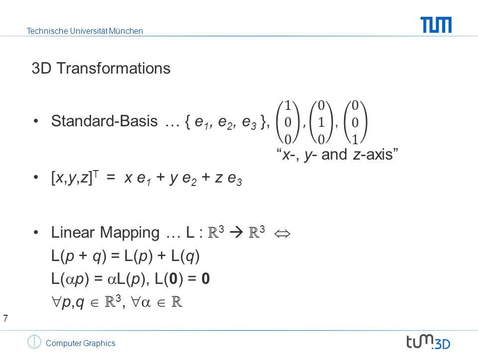 Technische Universität München Computer Graphics 3D Transformations 7