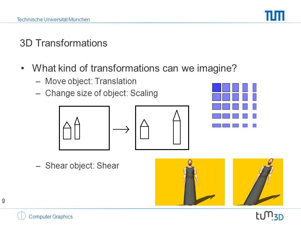 Technische Universität München Computer Graphics 3D Transformations What kind of transformations can we imagine.