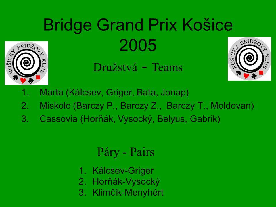 Bridge Grand Prix Košice 2005 Družstvá - Teams 1.Marta (Kálcsev, Griger, Bata, Jonap) 2.Miskolc (Barczy P., Barczy Z., Barczy T., Moldovan ) 3.Cassovia (Horňák, Vysocký, Belyus, Gabrik) 1.Kálcsev-Griger 2.Horňák-Vysocký 3.Klimčík-Menyhért Páry - Pairs