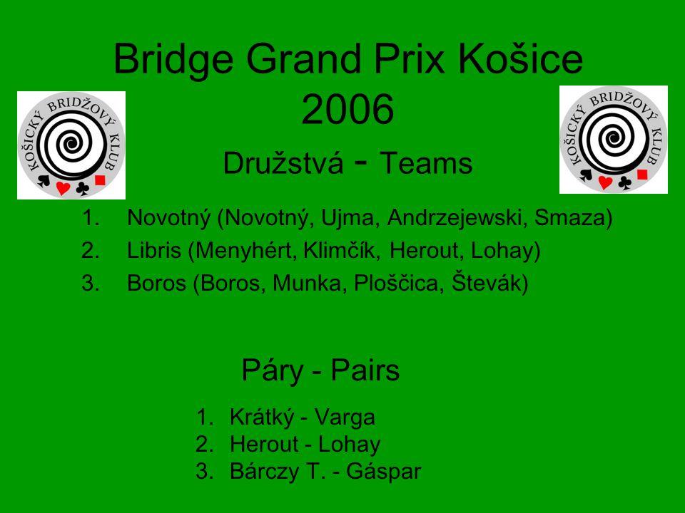 Bridge Grand Prix Košice 2006 Družstvá - Teams 1.Novotný (Novotný, Ujma, Andrzejewski, Smaza) 2.Libris (Menyhért, Klimčík, Herout, Lohay) 3.Boros (Boros, Munka, Ploščica, Števák) 1.Krátký - Varga 2.Herout - Lohay 3.Bárczy T.