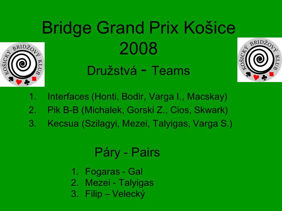 Bridge Grand Prix Košice 2008 Družstvá - Teams 1.Interfaces (Honti, Bodir, Varga I., Macskay) 2.Pik B-B (Michalek, Gorski Z., Cios, Skwark) 3.Kecsua (Szilagyi, Mezei, Talyigas, Varga S.) 1.Fogaras - Gal 2.Mezei - Talyigas 3.Filip – Velecký Páry - Pairs