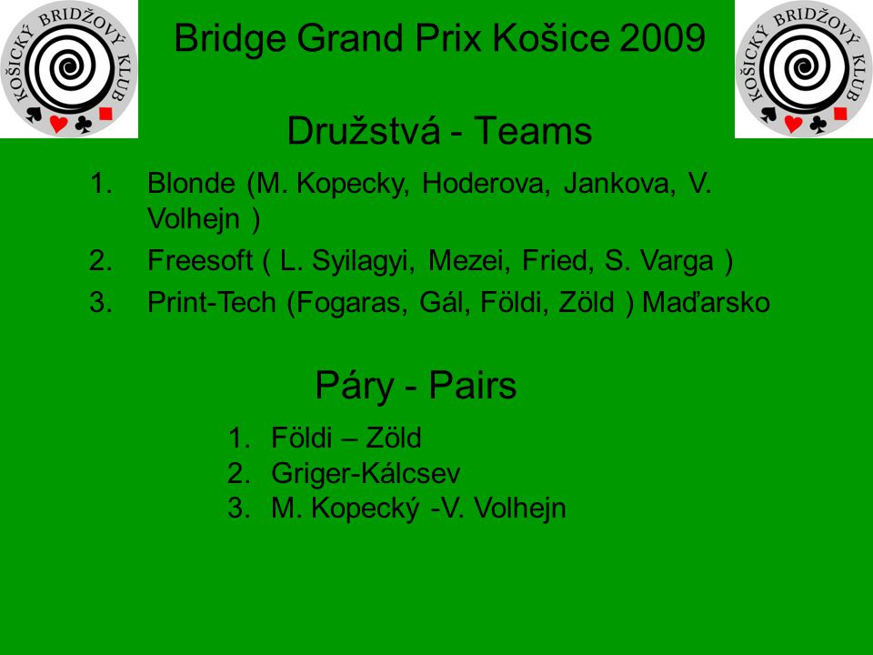 Bridge Grand Prix Košice 2009 Družstvá - Teams 1.Blonde (M. Kopecky, Hoderova, Jankova, V. Volhejn ) 2.Freesoft ( L. Syilagyi, Mezei, Fried, S. Varga